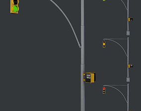 3D model Traffic Light 02 Low Poly Game Ready