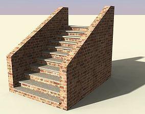 3D asset brick stairs