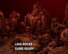 Lava rocks 3D model game-ready