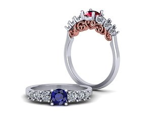 3D print model Engagement ring with heart ornament 0239 1