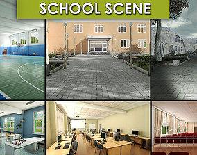 3D asset School Scene