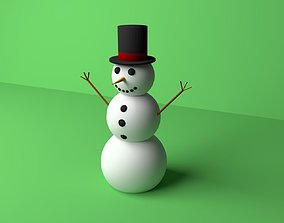 3D model VR / AR ready blender Snowman