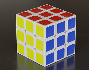 3D model animated low-poly Rubiks Cube