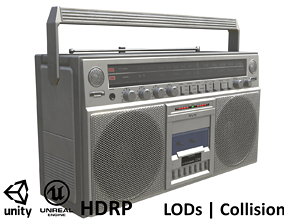 3D asset Game-ready Retro Boombox - Unity - HDRP - UE4