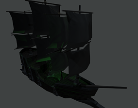 3D model Cursed Stylized HandPainted Ship