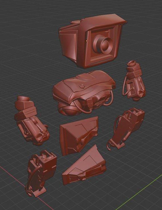 Mech Robot Kitbash - Tech kit - Robot camera - sci-fi 3D model