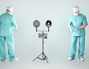 Surgeon in mask and sterile gloves working 137 3D asset