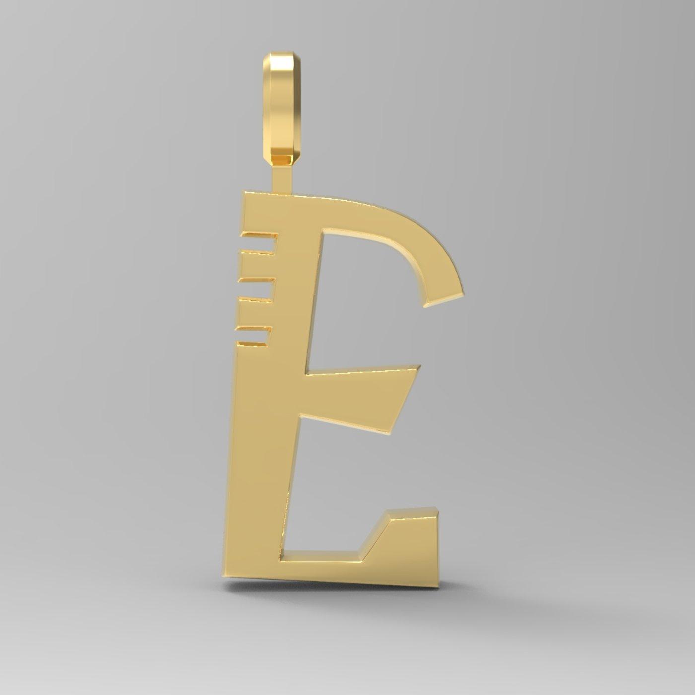 E Letter Pendant Gold