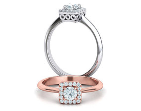 ArtDeco Halo Engagement ring 30pt main Stone 3dmodel