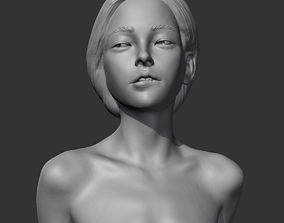 HD girl bust G 3D print model sculpture