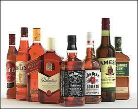 8 bottles of Whiskey 3D