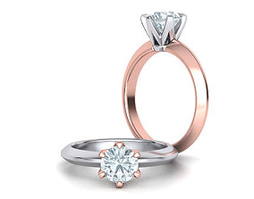 Solitaire 6claw ring with 1ct stone 3dmodel 3D print 1