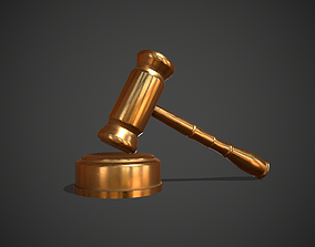 Golden Judge Hammer 3D asset