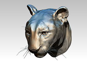 Tiger Lion Cat Head bust face statue 3D printable model