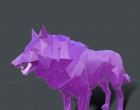 wolf low poly for motion graphics 3D asset