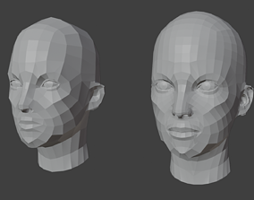 Female Heads Low-poly 3D Model VR / AR ready