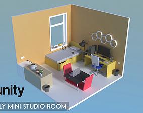 3D asset Simple Room - Low Poly Mini Studio Room