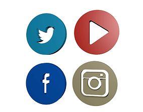 3D Social Media Icons models