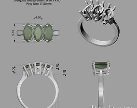 3D print model 3 Stone Ring Marquise
