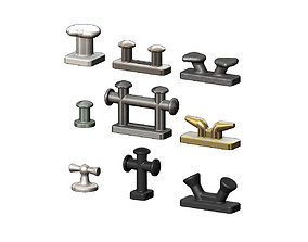 Mini set of shipyard bollards 3D print model