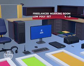 low-poly freelancer working room models set