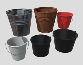 Bucket Pack 3D asset low-poly