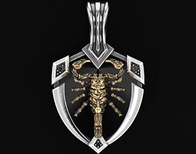 3D printable model Stylish pendant shield and scorpion 505