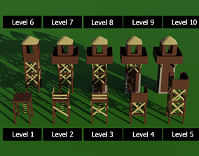 Low Poly RTS watchtower - Upgradable 3D asset