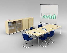 3D Office Set Chair Table Shelf