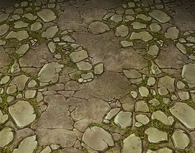 3D ground stone grass tile 07