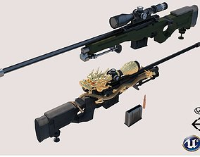 AWM Sniper Rifle Dragon 3D asset