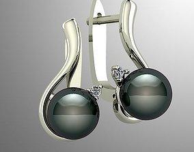 Pearl earrings with diamonds 3D print model