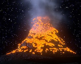 3D asset animated Volcano