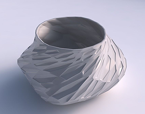 Bowl twisted elipse with crystal dents 3D print model