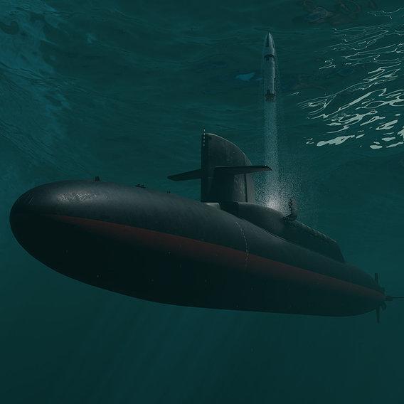 USS George Washington (SSBN-598) with Polaris missile A3.