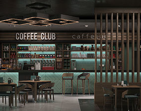3D Coffee shop interior scene