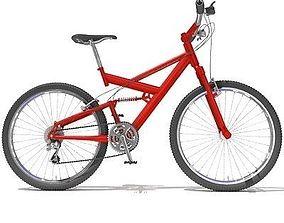 3D model Bright Red Mountain Bike 01