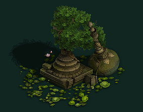 3D model Kashayana Buddhist Forest Broken Water Pagoda 1