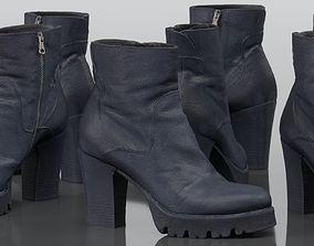 3D asset Black Leeather Zipper Boots Heels