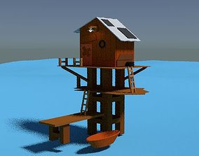 Isometric House at Sea 3D LowPoly