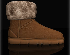 Winter boots with fur emu shoes 3D model