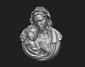 3D print model Mary with Baby Jesus Pendant