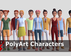Low Poly Characters 3D asset