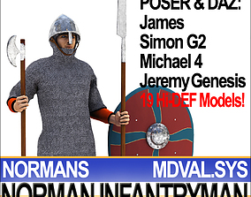 3D Medieval Norman Infantryman Props Poser Daz