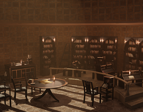 VR / AR ready Medieval Library Model Pack Black low-poly