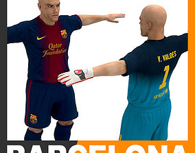 Football Player and Goalkeeper - FC Barcelona 3D model