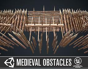 Modular castle wooden obstacles 3D asset