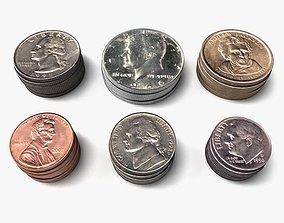 US Coin Set 3D model