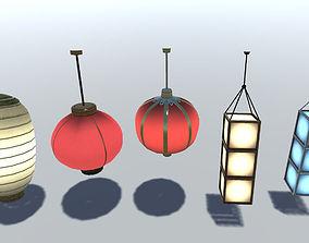 3D asset Chinese Lantern Set