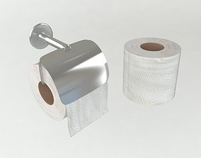 3D asset realtime Toilet paper and Holder